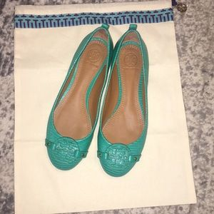 NWOT Pool green mini Miller Tory Burch flats